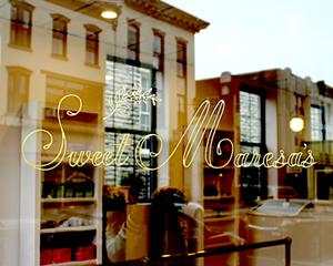 Hand-gilded signage at Uptown Kingston bakery Sweet Maresa's in 23-karat matte gold
