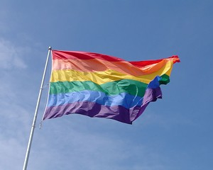 San Francisco, CA - This giant gay pride flag flies year round at the corner of Castro & Market.