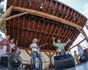 Pete Seeger performing at the first annual Summer Hoot, 2013. From left: Jay Ungar, Molly Mason, Mike Merenda, Pete Seeger, Will Merenda, Ruthy Ungar.