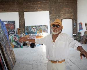 """Painter and sculptor Reggie Madison in his studio at Basilica Hudson preparing work for his solo show, """"Home Grown,"""" which runs through October 10 at September gallery."""