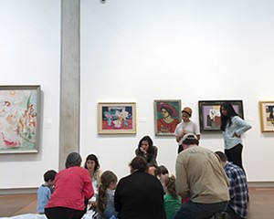 Margaret Vetare and Vassar student docents engage museum-going preschoolers at Storytime in the Museum