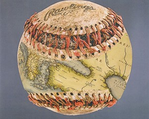 """One of the earliest maps to show the Earth as a sphere was apparently grafted, by some process, onto a baseball. The ball, fished out of the Aegean Sea by a Greek trawler, was later purchased at a yard sale in Lesbos, coincidentally enough, by a cameraperson for """"Antiques Roadshow."""" Alas, in deplorable condition, it sold for a mere five drachmas."""