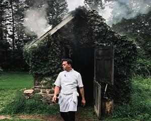Chef Aaron Abramson leaving the smokehouse.