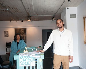 Fabian Marshall with his mother, Liz Baker, at Broadway Arts in Kingston.