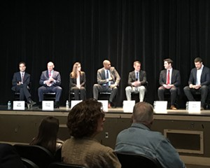 Candidates from left to right—Jeff Beals, David Clegg, Erin Collier, Antonio Delgado, Brian Flynn, Gareth Rhodes, Pat Ryan—at a forum in Kingston on April 26.