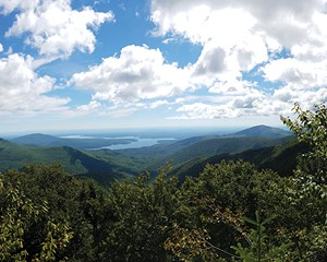 Looking at the Ashokan Reservoir from the top of Friday Mountain