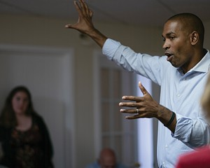Congressman-elect Antonio Delgado on the campaign trail in Oneonta on September 8, 2018.