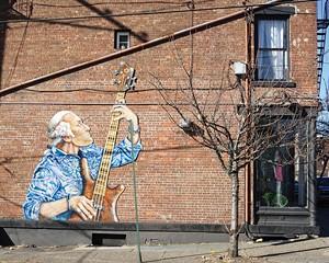 Street art by Will Teran on the corner of Washington and Liberty, across from Washington's Headquarters.