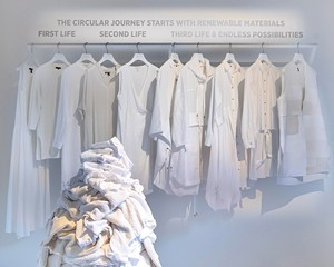 "Eileen Fisher's ""Waste No More"" exhibition in Milan."