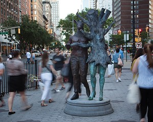 In Sync on 72nd Street. Cast silicon bronze, polychrome patina, cast concrete.