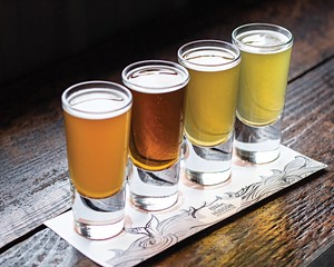 A flight of beers at Hudson Brewing.