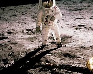 Astronaut Edwin E. Aldrin Jr. walks on the surface of the moon, July 20, 1969.