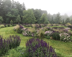 The Spiral Labyrinth in the seven-acre West Meadow at Mountain Top Arboretum is planted with grasses and perennials that are deer-resistant and pollinator-friendly.