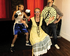 """Lucy Miller (the Lop-Eared Rabbit), Cassidy Maze Bua (Meg), and Martin McKeon (Time) star in Sandra Dutton and Scott Petito's new musical, """"JAMOT: Just a Matter of Time."""""""