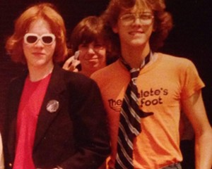 """Robert Burke Warren (right) with his """"Redheaded Friend,"""" Todd Butler (left) and Adam Cahoon (center) at St. Pius X Catholic High School in Atlanta, Georgia, May 1980."""