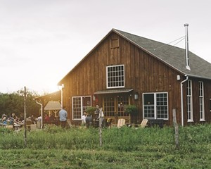 The tasting room and brewing facility at Arrowood Farm Brewery in Accord, NY.