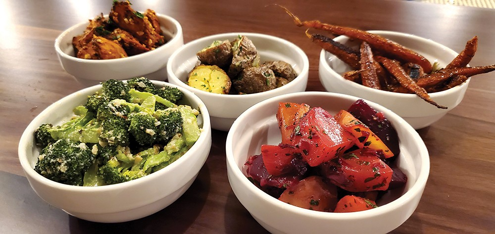 Some of the Table Shares available at Roe Jan Brewing Company: Cashew BBQ Sweet Potato, Roasted Potato, Honeyed Carrots, Rosemary Beets, Broccoli Parmesan.