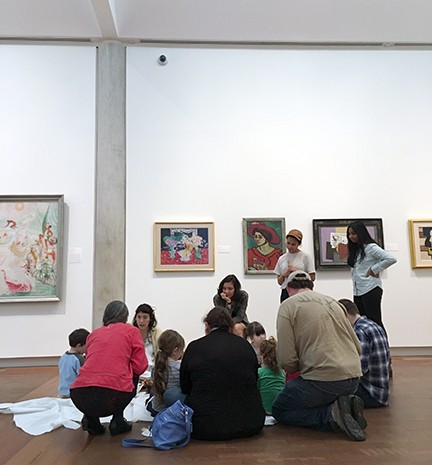 Margaret Vetare and Vassar student docents engage museum-going preschoolers at Storytime in the Museum - HILLARY HARVEY
