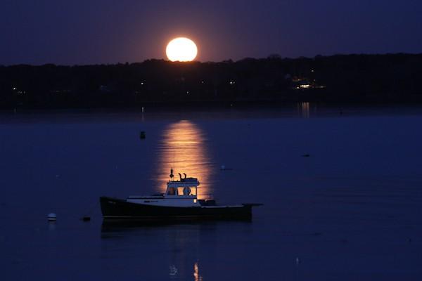 Monday's Full Moon in Taurus, over Casco Bay, Maine. Photo by Amanda Painter.