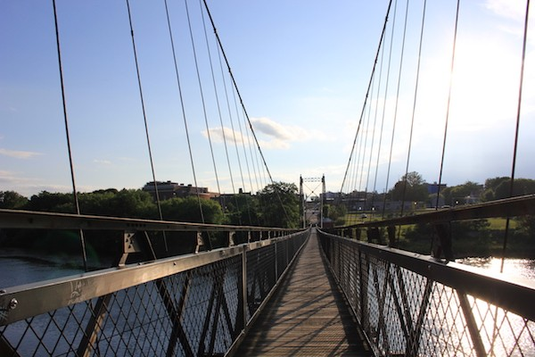 Looking across the Two-Cent Bridge toward Waterville, Maine. - AMANDA PAINTER