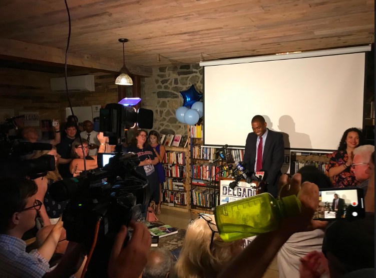 Delgado declares victory at his election watch party at Rough Draft Bar and Books in Kingston. - ANDREW SOLENDER