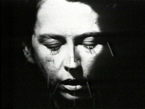 """Linda Montano, """"Mitchell's Death,"""" 1977, 22:20 minutes, video, black and white. Video still copyright of the artist, courtesy of Video Data Bank, www.vdb.org, School of the Art Institute of Chicago"""
