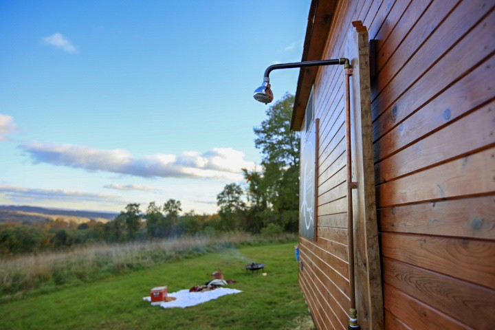 If there is no pond or snowbank where the sauna is set up, the Cloudberry comes with a shower head that can be mounted to outside and hooked up to a garden hose. - NILS SCHLEBUSCH (NILS360.COM)
