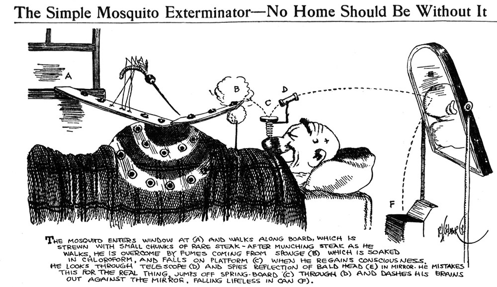 Rube Goldberg (1883-1970), The Simple Mosquito Exterminator, 1912. Syndicated nationally on July 17, 1912.