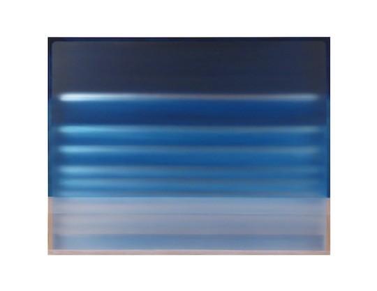 "Stratocumulous, Heather Hutchinson, flashe, acrylic polymer, reclaimed Plexiglas, mirrored acrylic, tape, plywood, 38"" x 49"" x 3.75"""