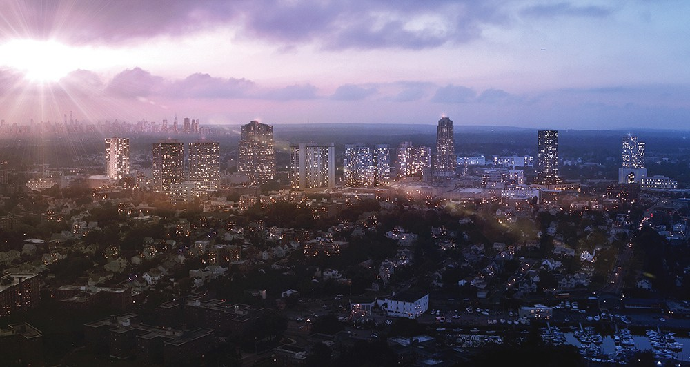 A rendering of the new New Rochelle skyline featuring all of the downtown projects that have received site plan approval by the city's planning board.