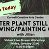 Virtual Art Class - Winter Plant Still Life: Drawing & Painting Class @