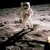 Astronaut Edwin E. Aldrin Jr. walks on the surface of the moon, July 20, 1969.