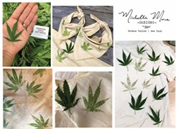 Hapazome fabric printing with hemp leaves - Uploaded by Vanessa Park