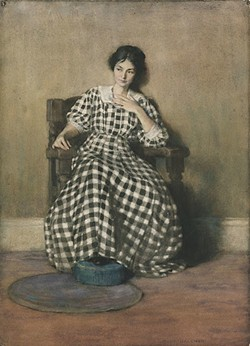 Hilda Belcher (American, 1881–1963) - The Checkered Dress (Portrait of Georgia O'Keeffe), 1907 - Watercolor and gouache on cream laid paper - Frances Lehman Loeb Art Center, Vassar College - Bequest of Mary S. Bedell, class of 1873, 1932.1.5