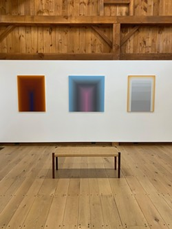Installation view with paintings by Audrey Stone