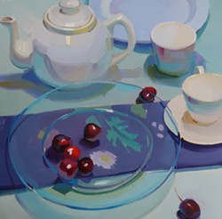 Blue Plate with Cherries by Karen O'Neal - Uploaded by JWMARTIN