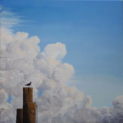 Big Wide World, oil on canvas, 36x36. One of Linda Lynton's series of paintings focusing on the earth and the sky, at the Rosendale Cafe this July. - Uploaded by Lyntonart