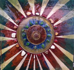 'Earth Mandala'; oil fresco with sand, pottery shards, sea glass and metal; resin finish - Uploaded by Earth Elements