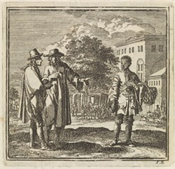 Two Men Pointing at a Boy by Jan Luyken, c. 1711 - Uploaded by Hudson Area Library
