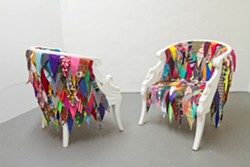 PRISM/LIVIN/ROOM Chair (2013) by Amanda Browder  Recycled fabric and found chair - Uploaded by artswestchester
