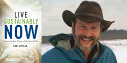 Author Karl Coplan with his new book LIVE SUSTAINABLY NOW - Uploaded by Oblong Books