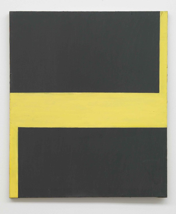 "Untitled, Blinky Palermo, oil on canvas, 37 3/8"" x 31 3/4"", 1964. Collection Stroher, Darmstadt, Germany."