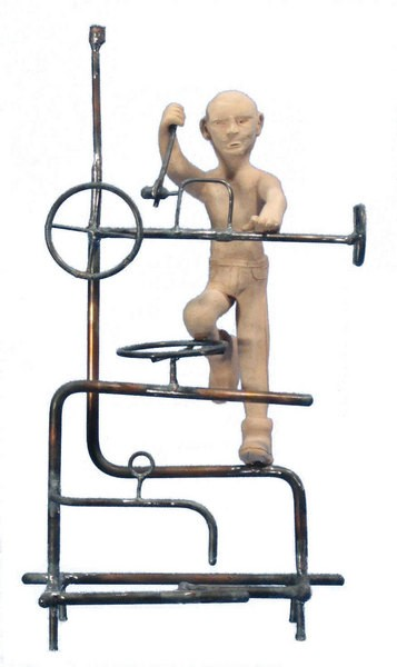 Untitled pieces from The Workman Series, steel with stoneware figures, 2008-09.