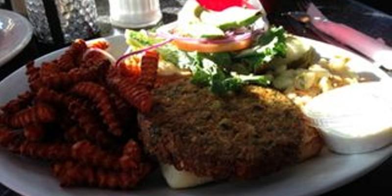 Veggie Burger with Sweet Potato Fries at Brio's