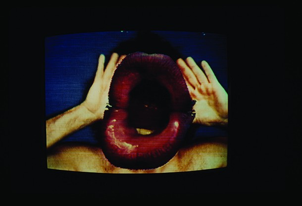 "Videophones and Videomirrors, Ann Woodward, 1974, color photograph, from - ""Videofreex: The Art of Guerrilla Television"" at the Dorsky Museum of Art at SUNY New Paltz - ANN WOORWARD"