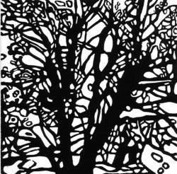 Winter Wood, Ann Haaland, One color linoleum block print, 2006