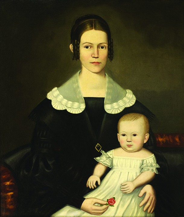 "Woman and Child, Erastus Salisbury Field, oil on canvas, 34 1/4"" x 29 1/4"", c. 1840. - Bennington Museum Collection."