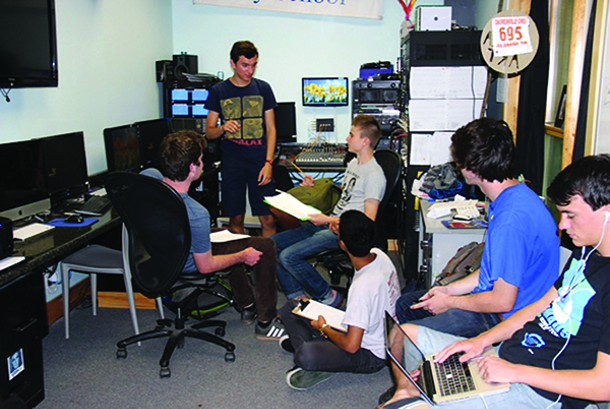 Woodstock Day School media arts production team planning meeting.
