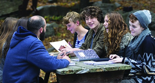 Woodstock Day School students working on Battering Ram, the school's literary journal.