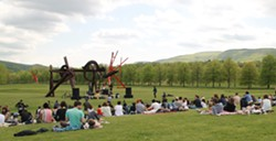 Woods/Widowspeak Concert in the South Fields, with sculptures by Mark di Suvero.